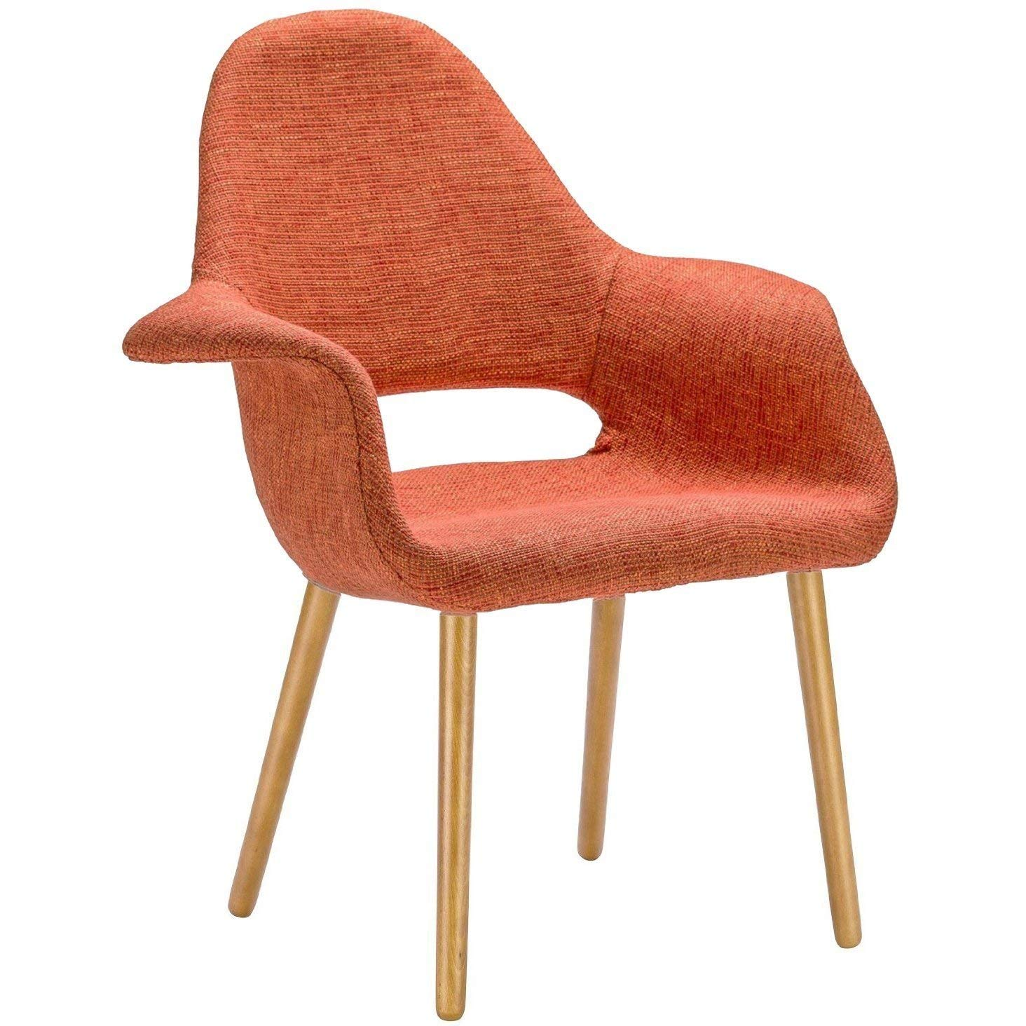 Set of 2, Mid-Century Modern Accent Chairs Natural Wood Chair Fabric Chair Armchair Orange - N/A Chair Arm Armchair Pair French Chairs Wood Century Modern Mid Style Svitlife