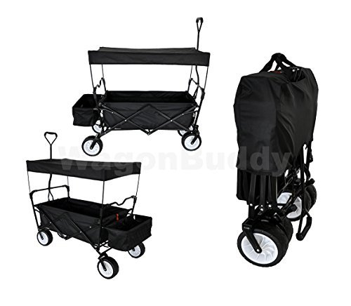 Get Quotations · BLACK OUTDOOR SPORT COLLAPSIBLE FOLDING WAGON W/ CANOPY  GARDEN UTILITY SHOPPING TRAVEL CART LARGE ALL