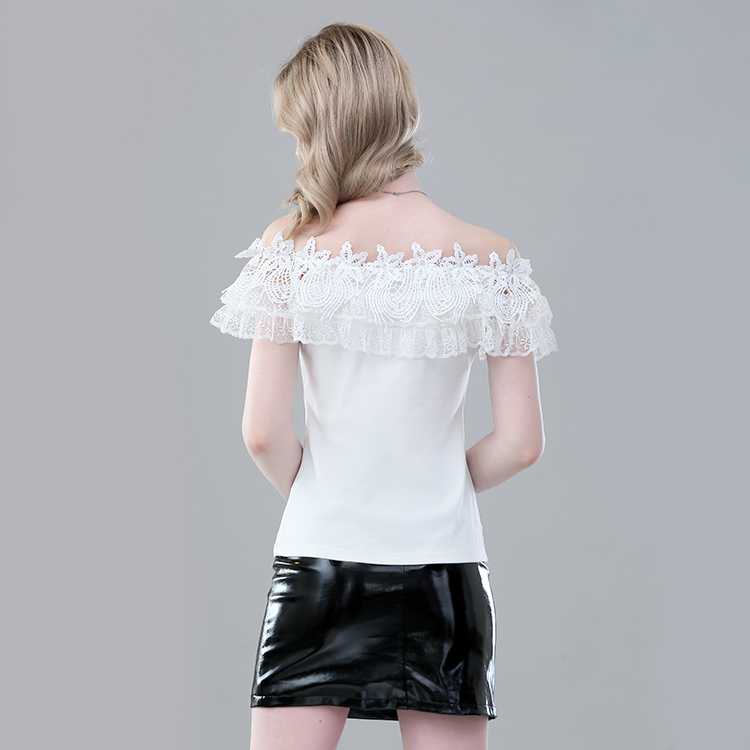 Custom Women's Sexy One-Shoulder Lace Collar Blouse Cotton Knit Short-Sleeve Blouse