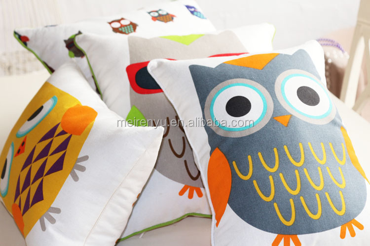 Children Animal Cartoon Design Cushion High Quality Linen Fabric Painting Designs Cover