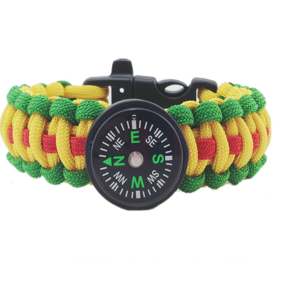 3 Color 550 Paracord Survival Bracelet with Compass and Whistle Buckle