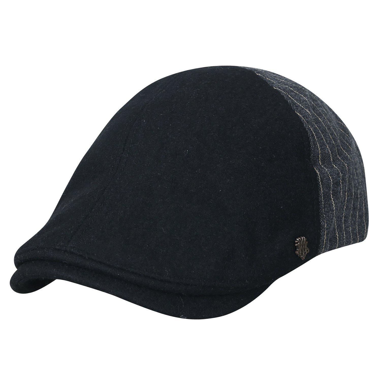 80ac896747719 Get Quotations · ililily Wool-blend Half Striped Gatsby Newsboy Hat Cabbie  Hunting Flat Cap
