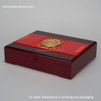 Good painted red wooden book shape tea gift box with foam and silk textiles