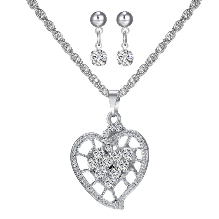 Fashion new silver earring heart pendant necklace 3 pcs set 2017 bridal jewelry set