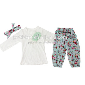 Wholesale Baby Clothes New Fashion Girls Plain White Top And Floral Vintage Pant Outfits fall Boutique Children Clothing
