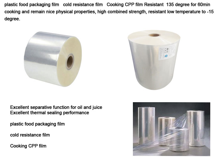 Hot sale multilayer cold resistance food grade plastic film packaging use shrink wrap Cpp film