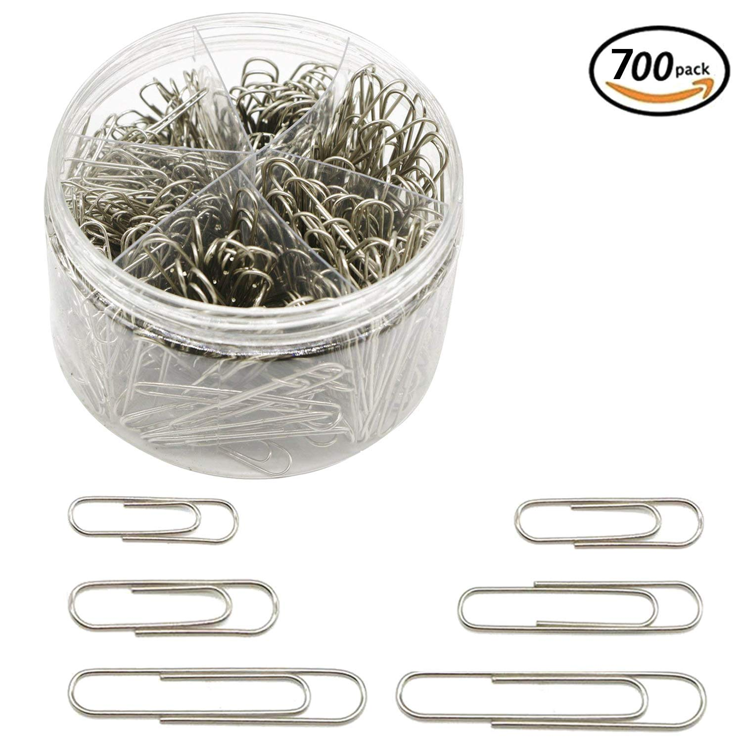 Paper Clips, 700 Pieces Sliver Paperclips, 28mm/33mm/50mm, Office Clips for School Personal Document Organizing Professional Work