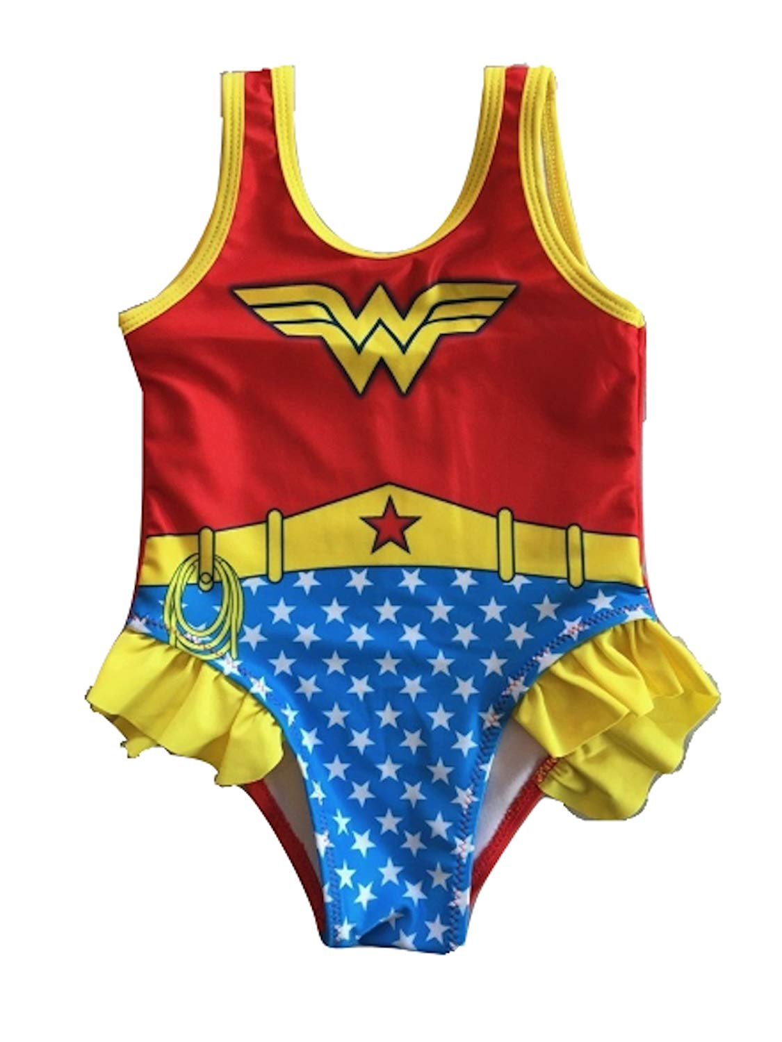 f53d940a8d76b Get Quotations · L C Boutique Little Girls Ruffle Wonder Woman One Piece  Swimsuit in Sizes 2T to 5T