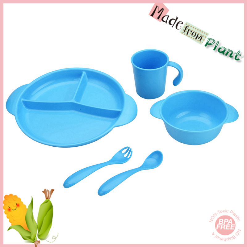 Corn Starch Plastic Baby Dinnerware Set Baby Plate with Spoon and Fork Set