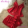 Sexy Two Pieces Red Women Pajama Set Nighty For Honeymoon