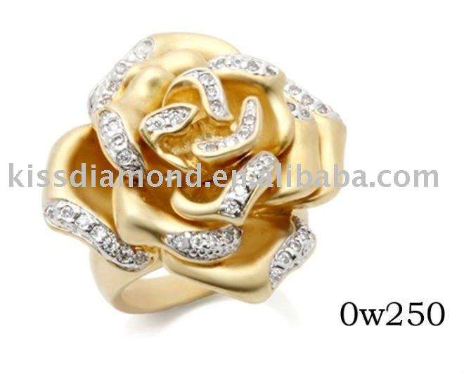 Fashion Clear CZ Flower Mat Gold Plated Ring
