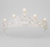 Elegant Fine Latest Bridal Jewelry Metal Alloy Rhinestone Pearl Bride to be Tiara