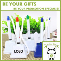 Promotional Plastic Table ball pen with stand holder stick on desk for bank and office