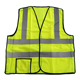 Yellow mesh security reflective safety vest with pockets