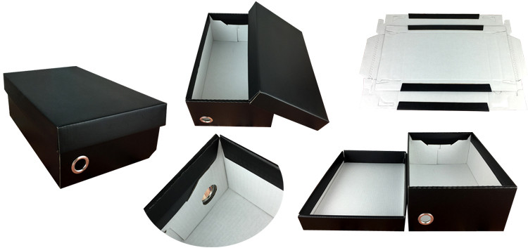 Free sample latest design unique rectangle black foldable shoe box packaging