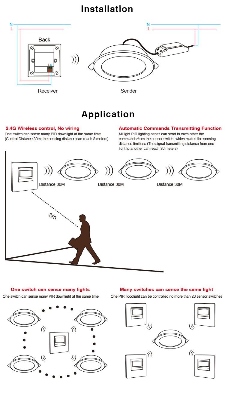 Led 12w Nature White Downlight Pir Sensor Smart Lighting Downlights Wiring Diagram 30m Transimitting Warm Ccol