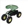 Rolling Garden Cart with 360 Degree Swivel Seat and Tray