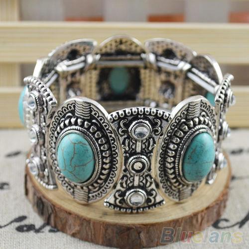 Классическая женская ретро винтаж природные бирюзовый симпатичные тибет серебряный браслет 1S5L