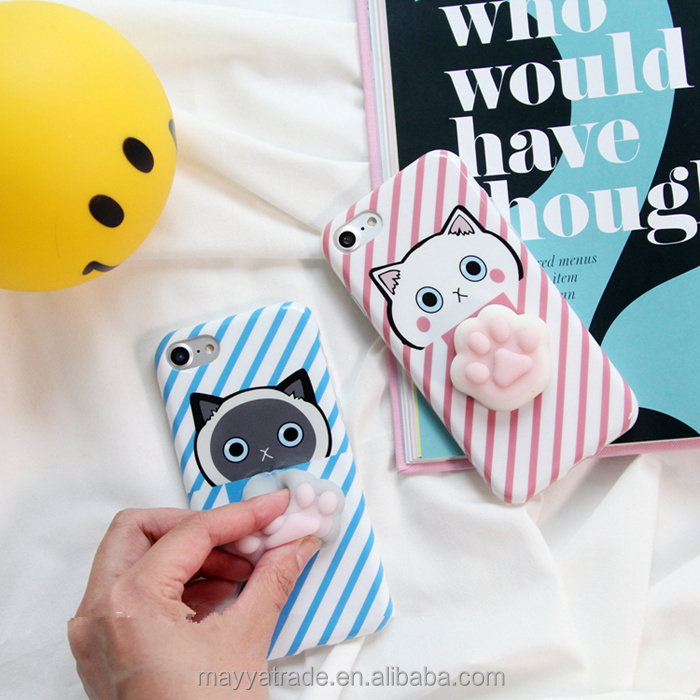 INS Style Adorable cute cat 3D Soft claw chubby kitten Squishy 3d Phone Case for iPhone 7 7Plus 6