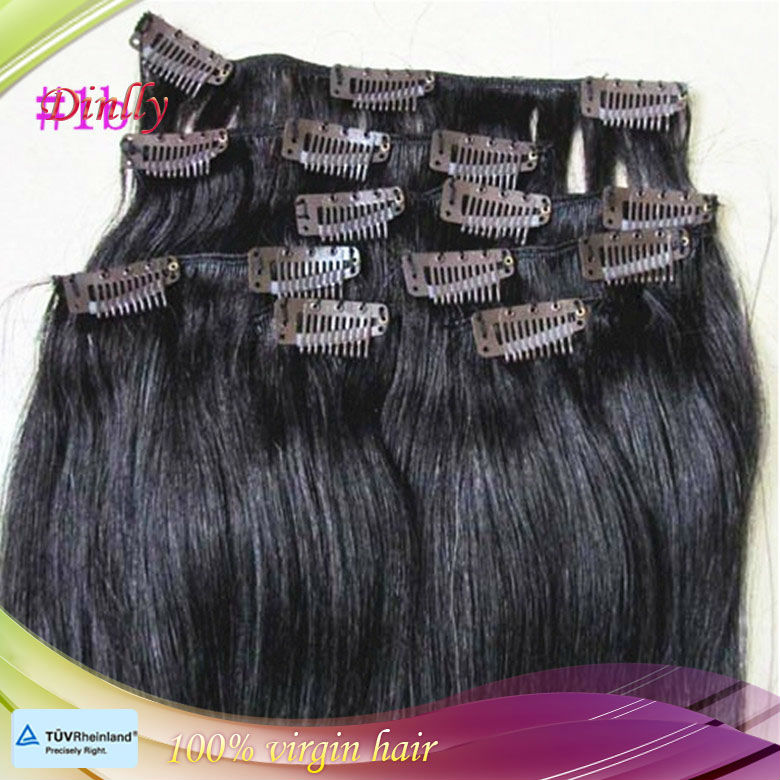 Factory supply cheap synthetic hair extension, clip in hair extension for black women