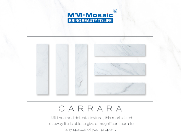 Meshed back brick bond herringbone white bianco carrara marble texture porcelain mosaic wall tiles