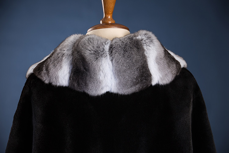 American Mink Fur Coat with Big Chinchilla Fur Collar Trench Fur Coat Custom