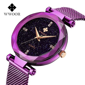 Fashion mesh band starry sky japan movt quartz wrist watch women ladies watches WR-8870 for girls gift