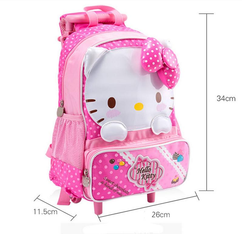 398889150ee Lindo hello kitty mochilas escolares con ruedas para niñas mochila con ruedas  para niños