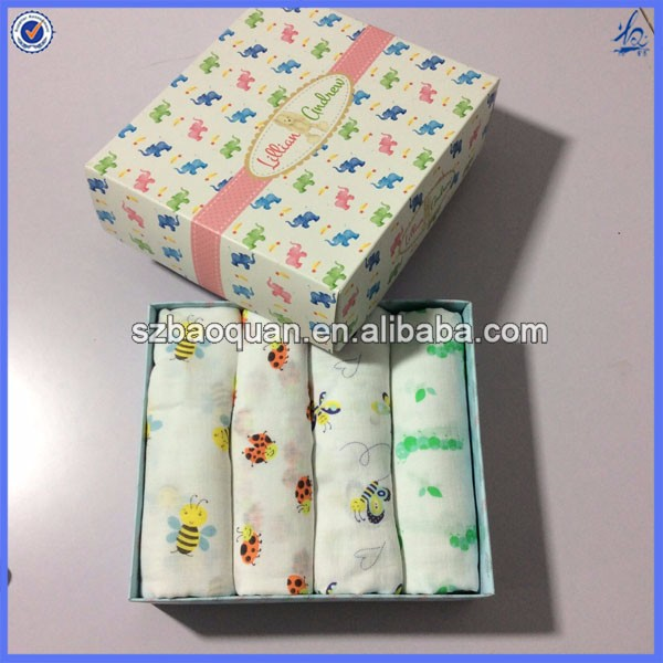 Baby Blanket Gift Box : Soft textile gift box packed big size baby muslin swaddle