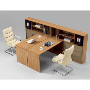 L shaped 2 person office desk workstation with overhead hanging cabinet