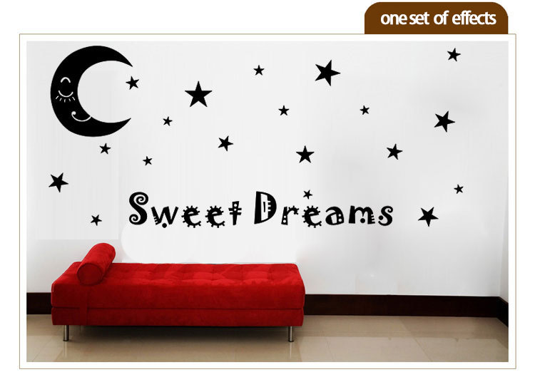 moon stars wall sticker sweet dream quote decal kids room home decorations pvc vinyl waterproof self-adhesive diy art wall mural