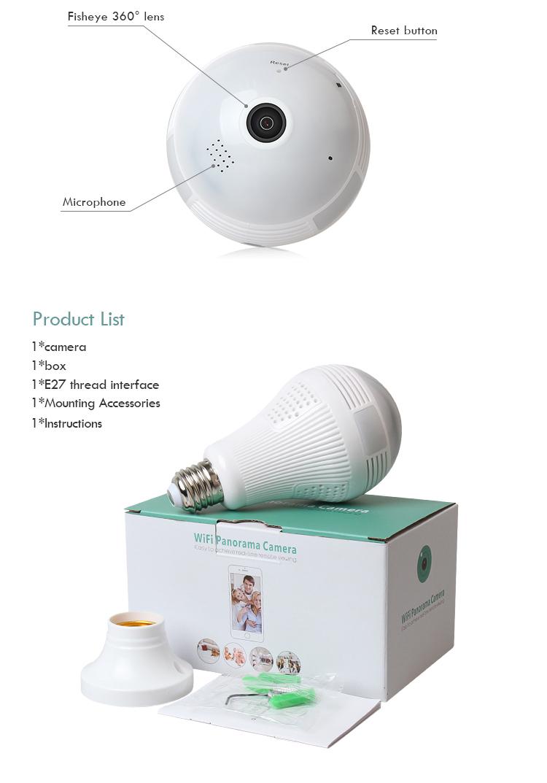 Panorama!!! loosafe Shenzhen 360 Derajat Wifi LED Aksi Sudut Lebar Semua Bulat View Cam Pengawasan IP Tersembunyi Bohlam Wifi Kamera