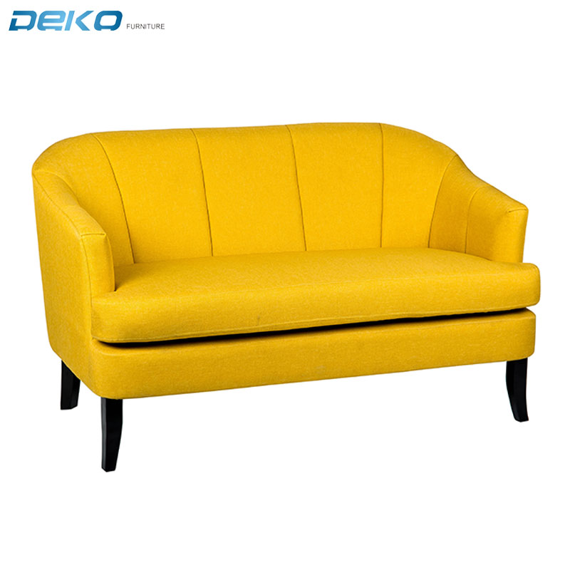 hot selling loveseat yellow sofa, fabric living room armchair, tufted lounge sofa