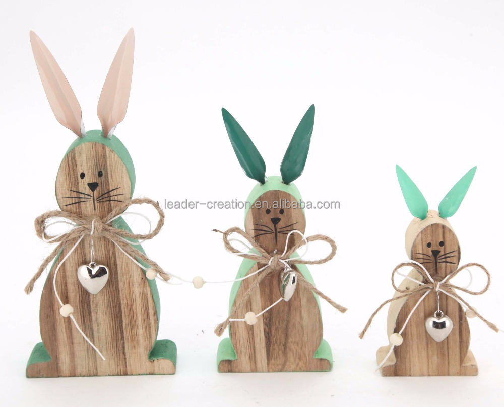 New design spring wood crafts lovely painted easter bunnies with long metal ears