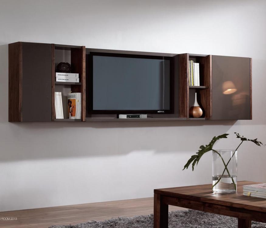 Modern Vintage Walnut Wood Hanging Wall Cabinet Design Living Room Mount TV