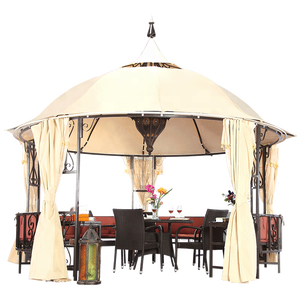 Outdoor Luxury Round Gazebo with Bench Mosquito Net Arabic Tent 400cm