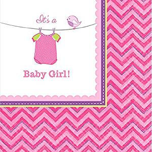 """Amscan Pretty Shower with Love Girl Baby Shower Party Beverage Napkins (16 Piece), 5 x 5"""", Pink"""