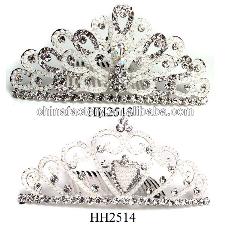HH2513-2514 Wholesale Stock Pearl Metal High Quality Wedding <strong>Crowns</strong> and Tiaras