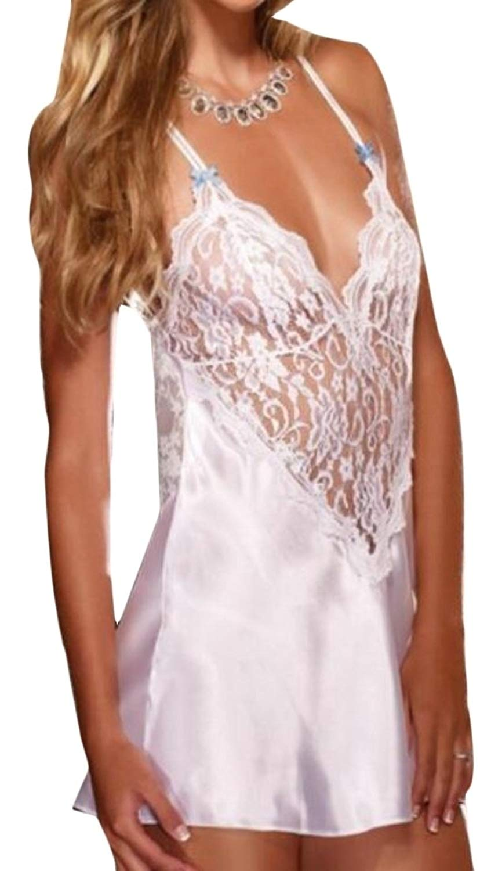 cf05e55ccda Get Quotations · WSPLYSPJY Women Summer Lingerie Satin Slip Hollow Lace  Babydoll Nightie Dress Slit Nightwear White XS