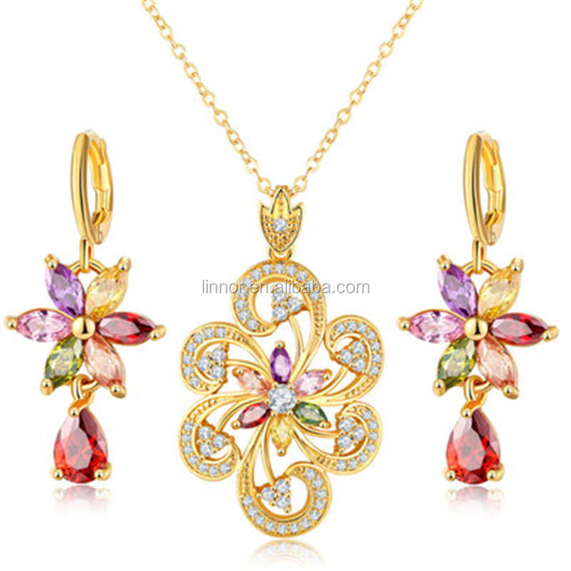 Natural multi gemstone luxury necklace & earrings women jewelry sets value 925 silver jewelry set for wedding