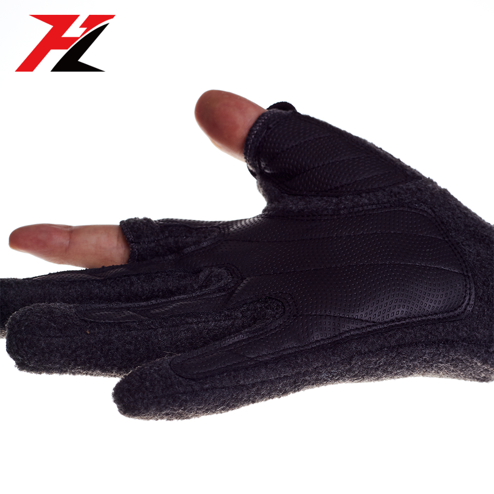 Heated warm leather nylon waterproof fishing gloves for winter