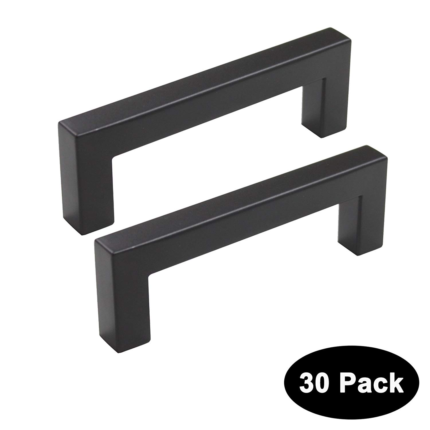 Probrico 30 Pack 3.75 inch (96mm) Hole Centers Square Corner Kitchen Cabinet Door Handles and Knobs Black Drawer Pulls Barthroom Bedroom Furniture Handles Stainless Steel