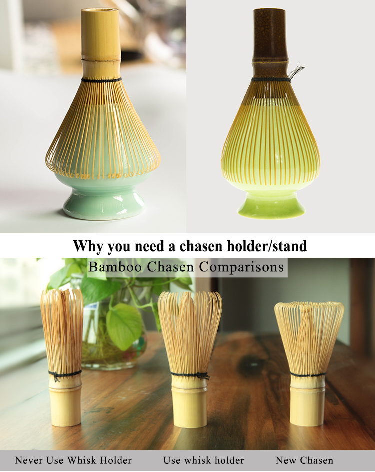 Bamboo Matcha Tea Whisk Porcelain Keeper Stand Holder Naoshi
