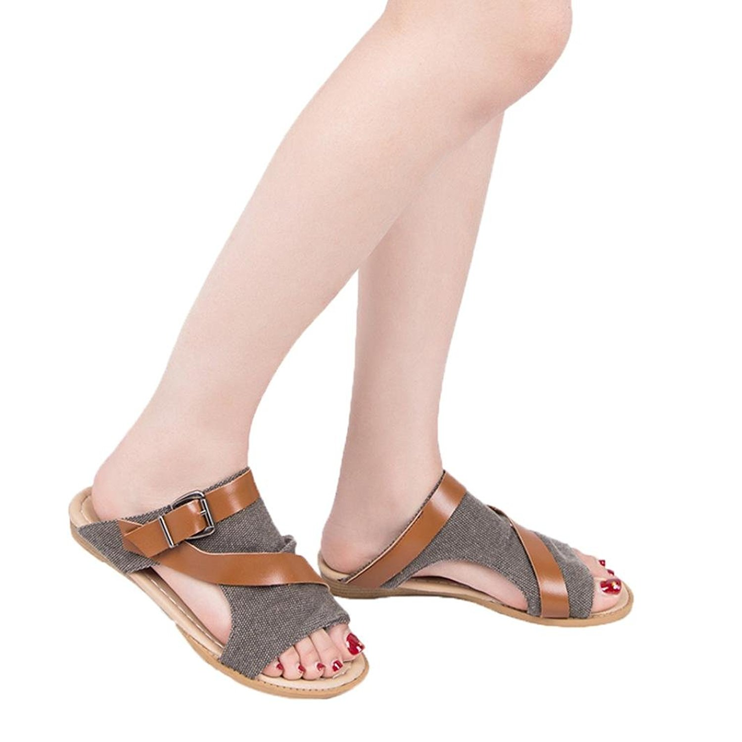 5f472d27278 Get Quotations · Gyoume Women Sandal Shoes Wedge Crisscross Sandal Strappy  Buckle Cutout Shoes Stacked Wedge Sandal