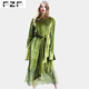 New Fashionable Lace Splice Long Sleeve Winter Loose Green Velvet Dress