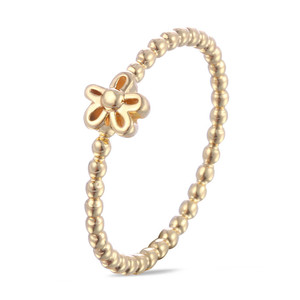 Women Personality Gift Jewelry Simple Fashion Gold Small Beads Flower Shape Rings