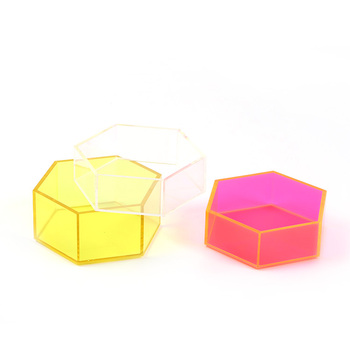 Custom clear stackable decorative hexagon organizer box cheap fluorescent acrylic serving tray for candy food