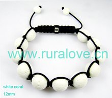 12mm white coral high quality shamballa bracelet,C200