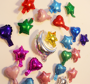 wholesale High Quality 5inch Metallic Plain Star/heart Shape Solid Pure Color Foil Helium Balloon Pure Color Self Seal Balloon