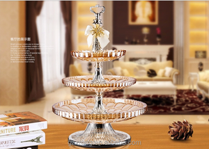 luxury wedding decoration crystal glass tier fruit tray